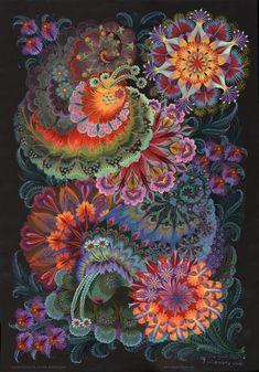 -in-the-moonlight-olena-skytsiuk - Beautiful Petrykivka Paintings by Olena Skytsiuk  <3 <3