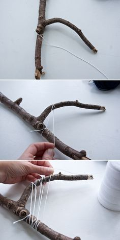 How to Make Your Own Stick Weave Más I have been admiring stick weaves for a while now and I finally decided to try it out. This is also really great for those who want to get into weaving, but don't own a loom just yet. Weaving Projects, Weaving Art, Loom Weaving, Tapestry Weaving, Art Projects, Garden Projects, Project Ideas, Garden Ideas, Diy And Crafts