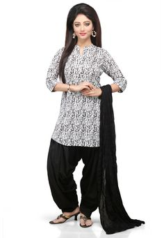 Buy White and Black Cotton Readymade Kameez with Patiala online, work: Printed, color: Black / White, usage: Casual, category: Salwar Kameez, fabric: Cotton, price: $62.00, item code: KTV286, gender: women, brand: Utsav