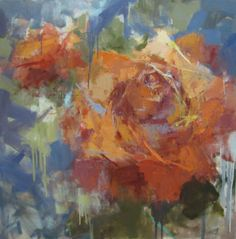 "Barbara Flowers, ""Roses"", Oil on Canvas, 40x40 - Anne Irwin Fine Art"