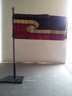 Tino Rangatiratanga Flag Piupiu - Landscape by Geraldine Ogle Flax Weaving, Maori Designs, Maori Art, Shawl Cardigan, Indigenous Art, Tapestry, Cloaks, Punch Needle, Embroidery