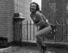 Someone should have checked the weather report before she got dressed in the morning! Kitty Dolan, the 1957