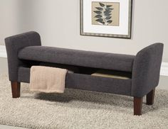 Grey Fabric Wood Ample Storage Bench