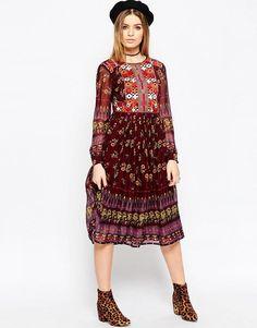 ASOS | ASOS PREMIUM Embroidered and Print Midi Dress at ASOS