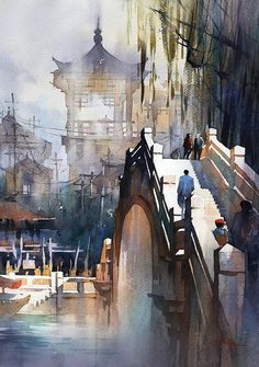 Bridge - China - Watercolor by Thomas Schaller Watercolor Artists, Watercolor Techniques, Watercolor Illustration, Watercolor Paintings, Watercolors, Painting Techniques, Watercolor Architecture, Watercolor Landscape, Landscape Paintings