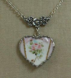 Broken China Jewelry Handpainted Pink Rose French Limoges Heart Pendant Necklace. $36.00, via Etsy.
