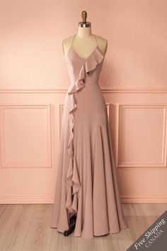 Amerie Sable Taupe Maxi Dress With Frills Grad Dresses, Dance Dresses, Bridesmaid Dresses, Taupe Maxi Dress, Dress Up, Dress Prom, Pretty Dresses, Beautiful Dresses, Womens Workout Outfits
