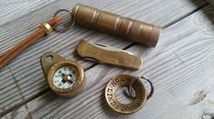 Forced Patina on Brass EDC, Compass, Torch, ID Tag, and Brass Pocket Knife
