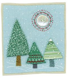 Freelance textile artist using recycled textiles, buttons and applique techniques to create folkart pictures and cards. Fabric Cards, Fabric Postcards, Christmas Applique, Christmas Sewing, Free Motion Embroidery, Free Machine Embroidery, Christmas Makes, Felt Christmas, Small Quilts