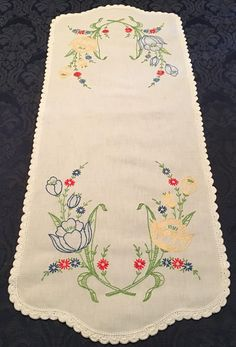 Vintage Linen Table Runner Dresser Scarf Hand Crafted with Embroidery Blue Yellow Tulips Lace Trim 34 x 13 Brazilian Embroidery Stitches, Baby Embroidery, Hardanger Embroidery, Silk Ribbon Embroidery, Vintage Embroidery, Embroidery Thread, Embroidery Patterns, Yellow Tulips, Blue Yellow