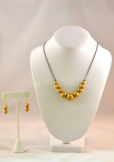 Terracotta Gold beaded Necklace and Earring set