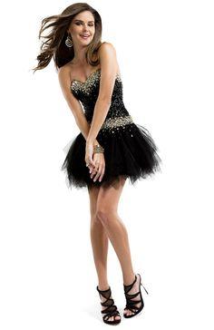 Sequin mini dress with tulle skirt | Flirt #flirtprom #cute #lbd #miniskirt #prom