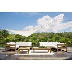 Canapé d'angle de jardin 3/4 places en teck Cyclades | Maisons du Monde