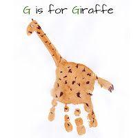 handprint craft, g is for giraffe