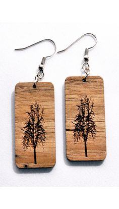 These willow tree earrings are made of solid hardwood that has been milled, laser engraved, sanded smoothly and sealed with a clear finish. These willow tree earrings have great detail, they are light weight and easy to wear.   Measures approximately 1.59″ x .73″