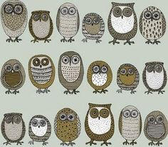 art cute owl dark colours different owls