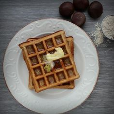 "Chestnut Flour Waffles (Gluten-Free) | ""The rich and nutty flavor of chestnut flour makes a deliciously unique waffle. Light in texture but hearty in flavor."""