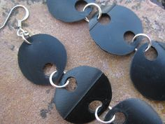 Long Dangle Earrings - Upcycled Bike Tube - Mod Black Circles - Hipster Indie Jewelry - Eco Friendly - Bike Accessories on Etsy, $18.00
