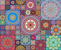 Vintage patchwork with floral mandala elements Art Print by cimeries Mandala Pattern, Pattern Art, Pattern Design, Pattern Flower, Bohemian Quilt, Magic Illusions, Mosaic Tile Designs, Sugar Skull Art, Decoupage Vintage
