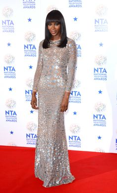 Naomi Campbell wore a silver & suntan Michael Kors giraffe paillette gown, from the Resort 2014 collection at the National TV Awards, on 22 Jan'14, in London, UK.