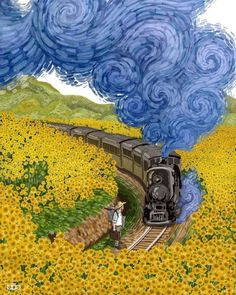Vincent van Gogh Fan Illustrates the Dutch Artist's Life in a Colorful Comic Series  Painting,Sunflower Train Decor,Office Art Print,Gift