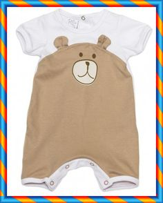 Enterito o mono BB. Mono or cotton onesie with bear design. It has snaps in between legs for easy diaper changes