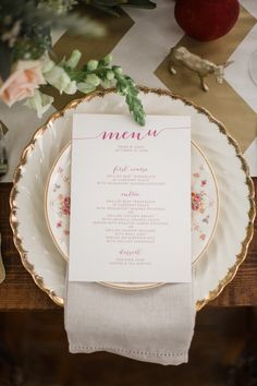 our rustic script menu featured on Wedding Chicks. Photography by Live View Studios.
