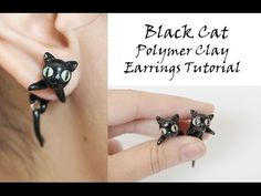 Black Cat Earrings Polymer Clay Tutorial - YouTube