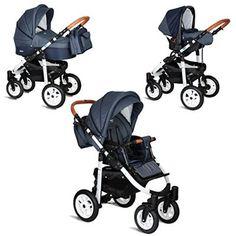 My Junior+® Miyo 3in1 Kombikinderwagen Komplettset bis zum 4.Lebensjahr---3 Years Guarantee---+Autositz (11-Teile-Megaset) Premium Kinderwagen (Jeans-Blue White Edition)