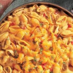 Salsa Mac and Beef Made this its great and easy. The boys loved  it!!!! I did add fiesta cheese.