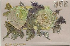 Blank greeting card  Two mint green roses  romantic by Vlada19, $10.00