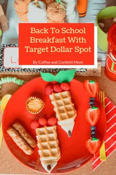 Back to School Breakfast with decorations from Target Dollar Spot. Create excitement in your home for the first day of school with a fun themed breakfast. Back To School Breakfast, Back To School Party, 1st Day Of School, School Parties, Breakfast For Kids, School Lunch, School Days, School Decorations, School Themes