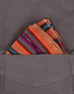CONTEXT: SS13 S13 084 Selvedge Guatemalan Hand Woven Pocket Square Orange