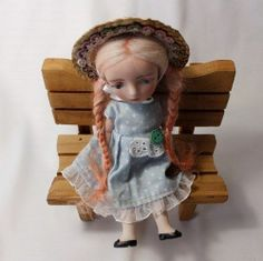 """6.3"""" FRENCH STYLE BISQUE HANDMADE RILLY DOLL WITH RED HAIR BY WOOL"""