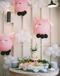 New birthday party cake table balloons ideas First Birthday Balloons, First Birthday Parties, First Birthdays, Peppa Pig Balloons, Pig Baby Shower, Balloon Installation, Farm Birthday, Birthday Cake, Pig Party