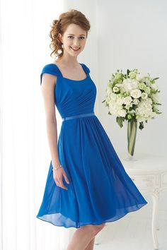 Formal Modern Modest Blue B2 Cap Sleeve Chiffon Fit-n-Flare Natural Ruching Sash/Belt Scoop Short Spring Summer Wedding Bridesmaids Photos & Pictures - WeddingWire.com Purple