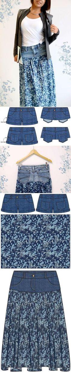 56 Ideas For Skirt Jean Diy Recycled Denim Diy Clothing, Sewing Clothes, Clothing Patterns, Sewing Patterns, Sewing Jeans, Crochet Patterns, Skirt Sewing, Sewing Shorts, Diy Shorts