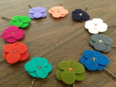 Shop for on Etsy, the place to express your creativity through the buying and selling of handmade and vintage goods. Felt Flowers, Flowers In Hair, Flower Hair Clips, Hairpin, Hair Band, Wool Felt, Iris, Trending Outfits, Colors