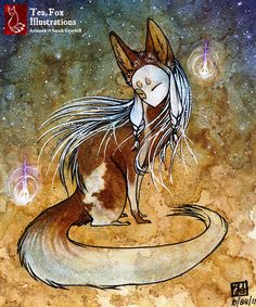 Kitsune by Tea Fox illustrations - Sarah Greybill Art And Illustration, Fuchs Illustration, Illustrations, Fox Spirit, Spirit Animal, Fantasy Creatures, Mythical Creatures, Dc Anime, Fox Art