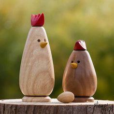 Adorable hand-turned Wooden Roosters, Chickens and EGGS! Available on Etsy