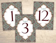Arabian Nights Moroccan Printable Table Numbers design No. 295 - personalized table numbers for wedding, bridal shower, baby shower DIY