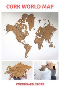 World Cork Map(pin board) - great cork product. Wall art, home decor. Cork World Map, Cork Map, Home Wall Decor, Coffee Shop, How To Apply, Stickers, Wall Art, Amazing, Board