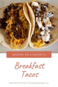 Binging on a Budget's Breakfast Tacos - Binging on a Budget  These Breakfast Tacos are the perfect brunch dish for Cinco De Mayo. Read the full recipe at Bingingonabudget.com.   #breakfasttacos #breakfastideas #breakfastrecipes #brunchideas #brunchrecipes #breakfasttacoseasy