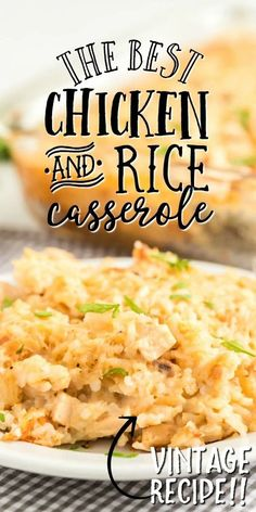 Apr 2020 - Chicken and Rice Casserole :: This classic chicken and rice casserole is a hearty family favorite. Creamy and delicious, tender chicken is mixed with cream soup, rice, and seasonings for an award-winning dinner. Easy Casserole Recipes, Casserole Dishes, Soup Recipes, Creamy Chicken And Rice, Chicken And Rice Dishes, Chicken Rice Soup, Creamy Rice, Chicken Rice Casserole, Casseroles With Chicken