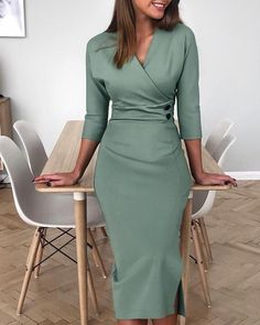 V-Neck Buttoned Side Slit Work Dress – Fashion Tops – Elegant Classy Dress, Classy Outfits, Chic Outfits, Dress Outfits, Fashion Dresses, Work Outfits, Elegant Dresses Classy, Outfit Work, Dress Shoes