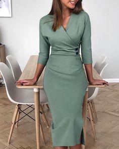 V-Neck Buttoned Side Slit Work Dress – Fashion Tops – Elegant Modest Dresses, Simple Dresses, Cheap Dresses, Casual Dresses, Dresses For Work, Midi Dresses, Formal Dresses For Women, Floral Dresses, Satin Dresses