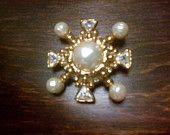 Vintage Pearl & Crystal Brooch