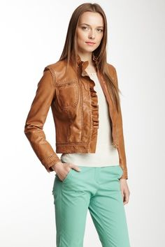 RED Valentino Woven Trim Leather Jacket by Non Specific on @HauteLook