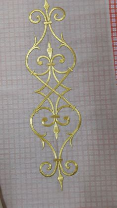 This Pin was discovered by Emi Embroidery Needles, Gold Embroidery, Hand Embroidery Patterns, Machine Embroidery, Embroidery Suits Design, Free Stencils, Decorative Borders, Embroidery Transfers, Ornaments Design