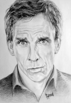 ".........Ben Stiller........... 17""x 13"" pencil drawing by Greg Hand .. Commission a drawing from your photo"